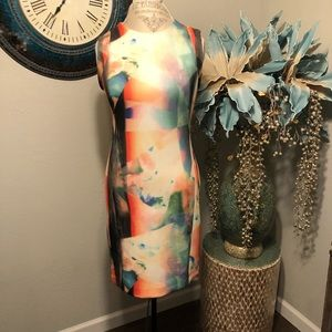 Carmen Marc Valvo watercolor sheath Dress
